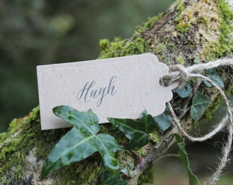 PLACE CARD TAGS-Wedding Guests-Kraft-Rustic-Woodland Style-Set of 12