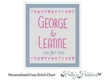 Beautiful Bunting Wedding Sampler Personalised Cross Stitch PDF Chart