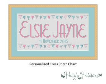 Beautiful Bunting Name Sampler Cross Stitch PDF Chart