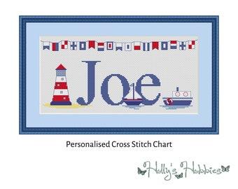 Nautical Personalized Name Sampler Cross Stitch PDF Chart