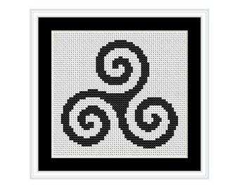 Celtic Triskele Spiral Symbol Cross Stitch Chart