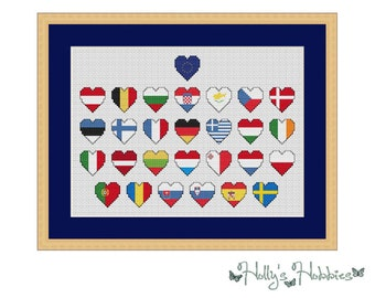 Flags of the European Union (post-Brexit) Cross Stitch Chart PDF