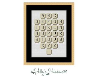 Scrabble Tiles Alphabet - Cross Stitch Chart