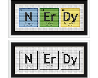 NERDY Periodic Table Chemical Element Cross Stitch Chart