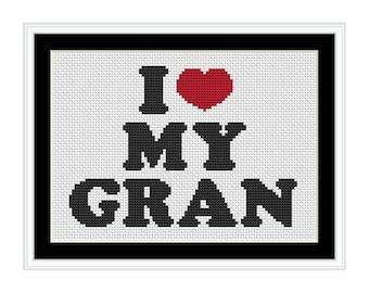 I Love My Gran - PDF Cross Stitch Chart