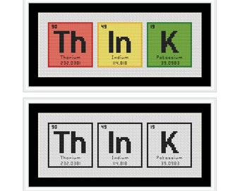 THINK Periodic Table Chemical Element Cross Stitch Chart