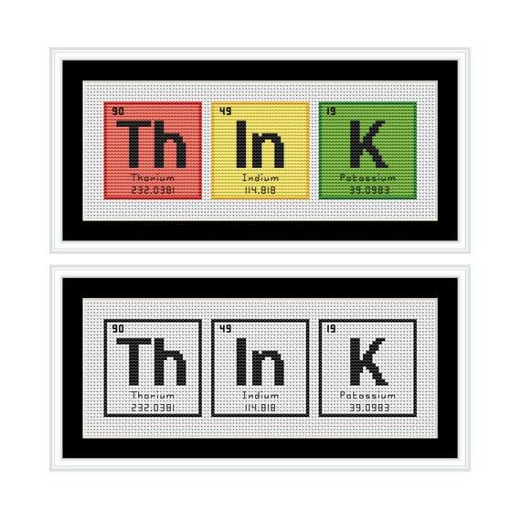Think Periodic Table Chemical Element Cross Stitch Chart Etsy