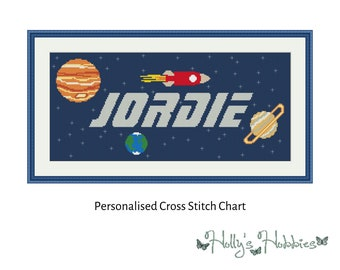 Outer Space Bespoke Name Sampler Cross Stitch PDF Chart