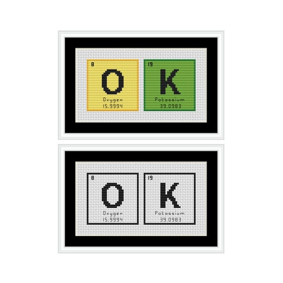 Ok Periodic Table Chemical Element Pdf Cross Stitch Chart