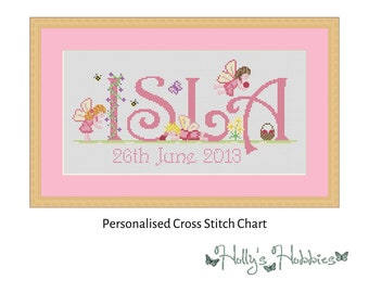 Fairy Name Sampler Bespoke Cross Stitch PDF Chart
