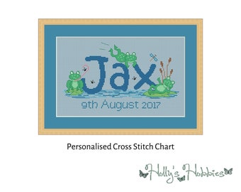 Frogs Bespoke Name Sampler Cross Stitch PDF Chart sent anywhere in the world via Email