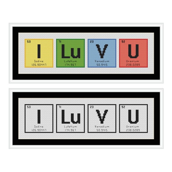 I Love You Periodic Table Chemical Element Cross Stitch Chart Etsy