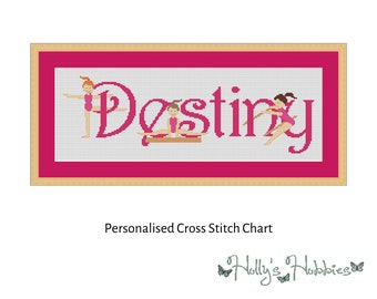 Gymnastics Personalised Bespoke Name Sampler Cross Stitch PDF Pattern in the colour of your choice sent via Email anywhere in the world!