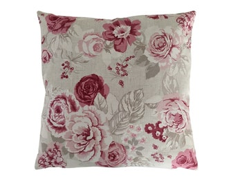 """Shabby Chic Cushion Cover in Pink Aqua Grey Floral Roses 14/"""" 16/"""" 18/"""" 20/"""""""