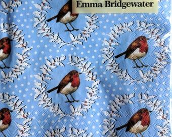 Emma Bridgewater Christmas Robin Wreath Lunch Napkins Pack of 20