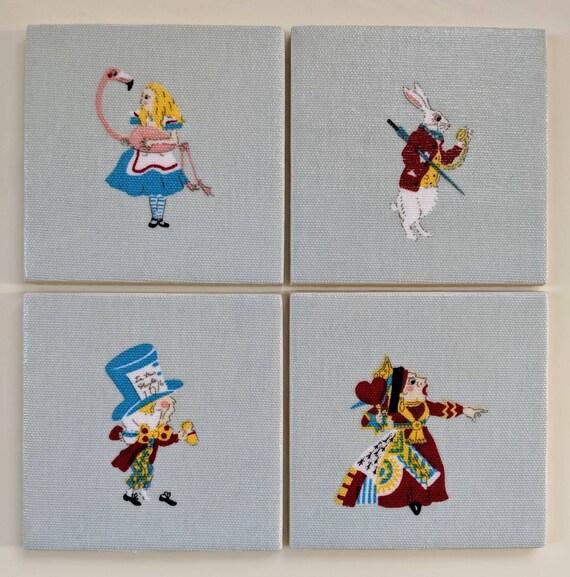 4 Ceramic Coasters in Sophie Allport Alice in Wonderland Rabbit Mad Hatter