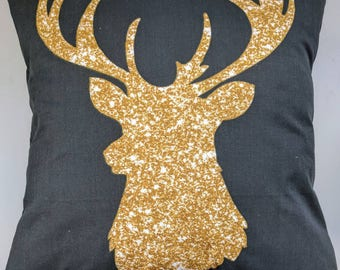 Gold Glitter and Black Stag Cushion Cover 16""
