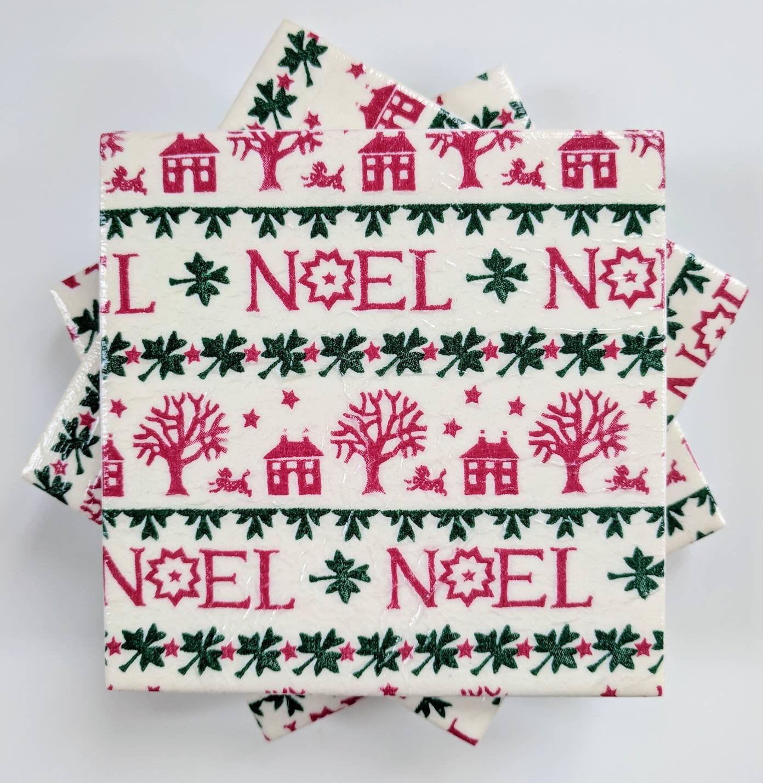NOEL XMAS Coasters set of 6