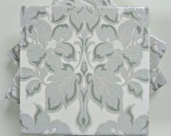 Ceramic Coasters in Laura Ashley Silver Damask Set of 4