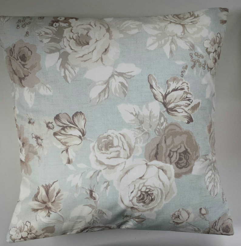 Handmade BLUE ROSES 100/% Cotton Cushion Cover Various sizes