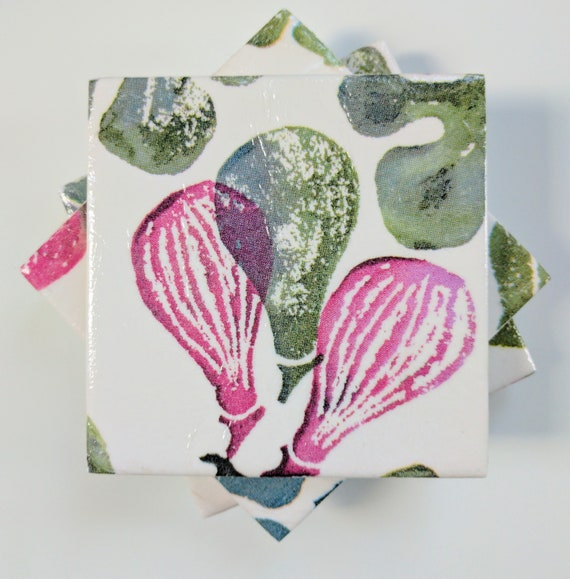 4 Shabby Chic Ceramic Coasters in Emma Bridgewater Sampler Pink Red Hearts