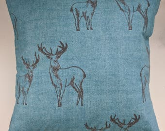 """Cushion Cover in Teal Stag Brushed Cotton 16"""""""