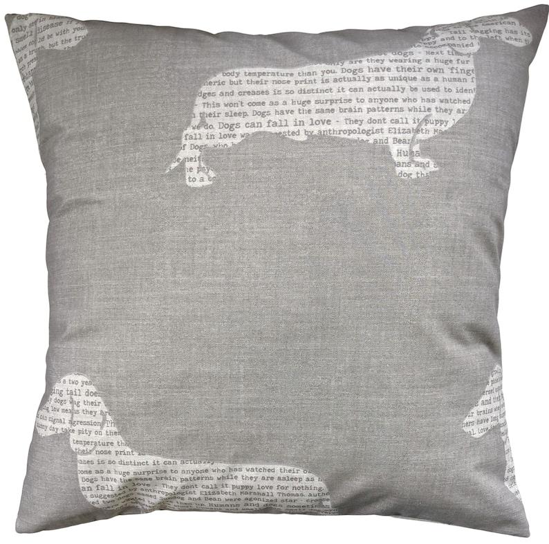 Dachshund News Grey Cushion Cover 16