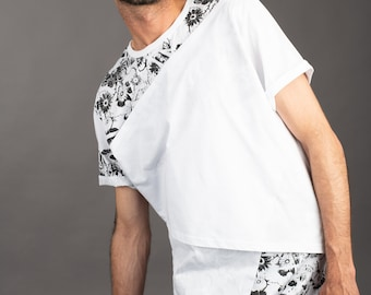 8a1364da53a1 NEW IN Mens white post apocalyptic asymmetrical triple layered t shirt with  hand printed floral skull screenprint
