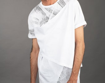 387eb57b9af4 NEW IN White mens cyberpunk asymmetrical 3 layered t shirt with hand  printed tire track screen print