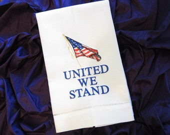 Embroidered Linen USA FLAG Guest Towel