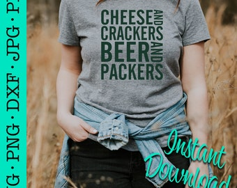 Cheese and Crackers, Wisconsin, Football, Beer, Packers, Tailgate, Green and Gold, Cheesy, Cheese head, SVG, Decal, Vinyl, Digital File