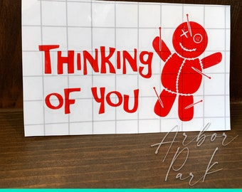 Voodoo Doll Thinking of You Sticker, Red Vinyl Decal