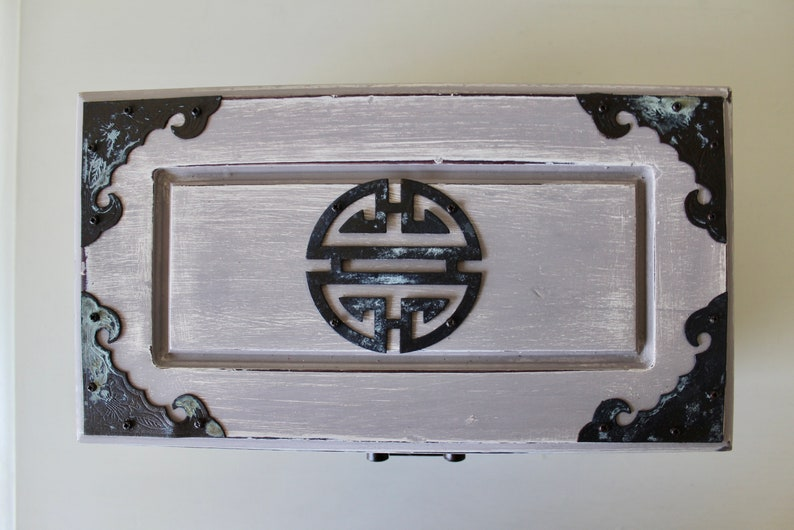 Two Tone Jewelry Chest Metal Finishings White Antique Patina Handles Wooden Storage Bronze Timeless Organize Gray Stylish