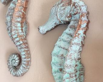 Seahorse Coastal Wall Figure, Coastal Decor, Beachy Interior Art, Under the Sea Theme, Salt Life Patina Finish, Ready to Hang