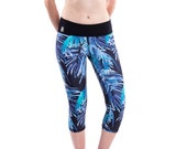 ON SALE! Womens Yoga Pants - Palm Print Yoga Capri - Printed Yoga Leggings - 50% OFF