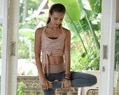 Yoga Wrap Top - Multi Tie Wrap Tank - Cotton Yoga Tank with Halter Neck