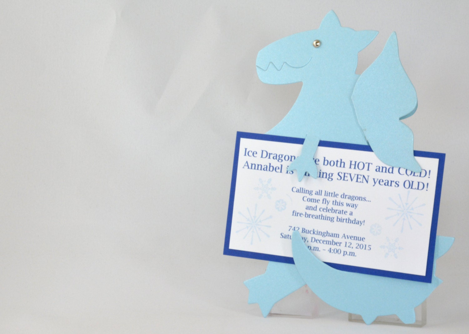 10 Ice Dragon Party Invitations with Custom Wording in Blue   Etsy