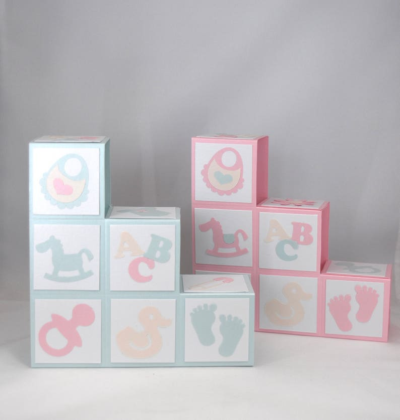3D Baby Blocks New Baby Congratulations Card in Pink or Mint Green