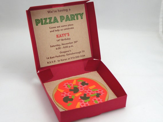 10 3D Pizza Box Party Invitations With Custom Wording