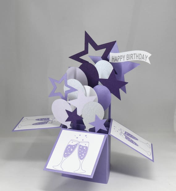 3d Purple Birthday Card Box Card With Balloons And Champagne