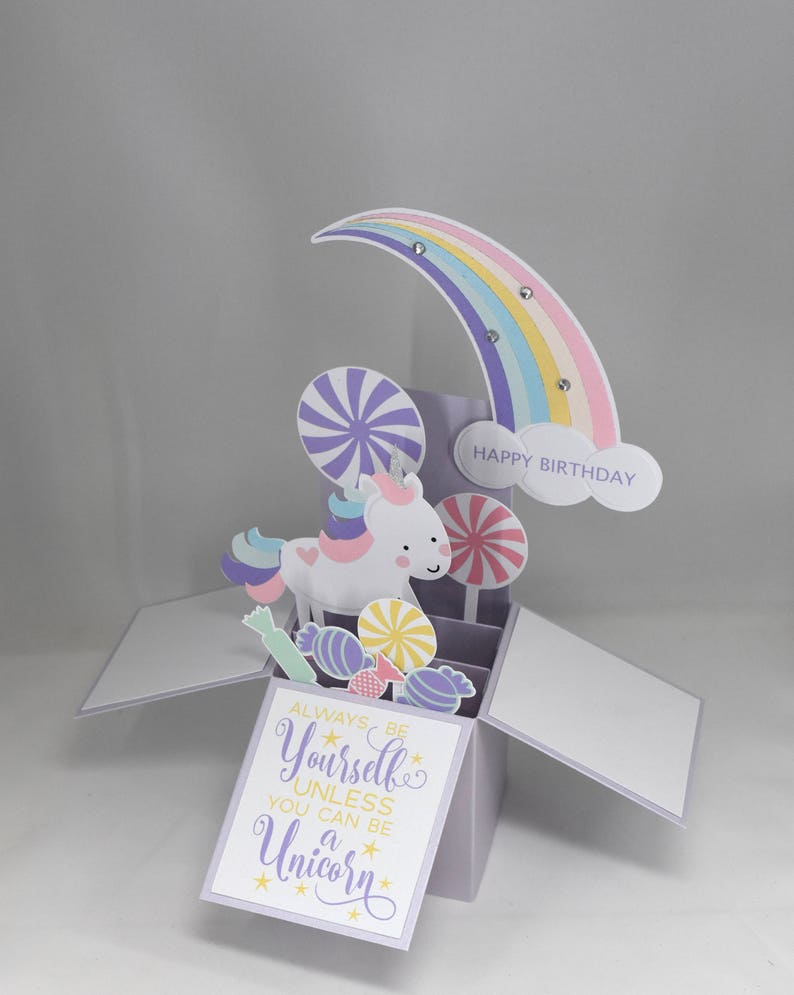 3D Unicorn Birthday Card Box With Rainbow And Candy