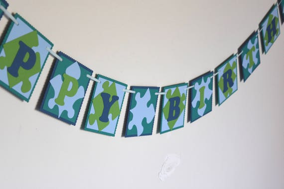 puzzle happy birthday banner name banner etsy