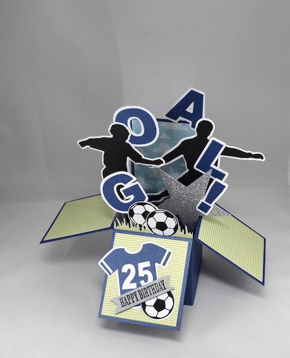 3d Soccer Birthday Card Box Card Football Card By A Paper Paradise