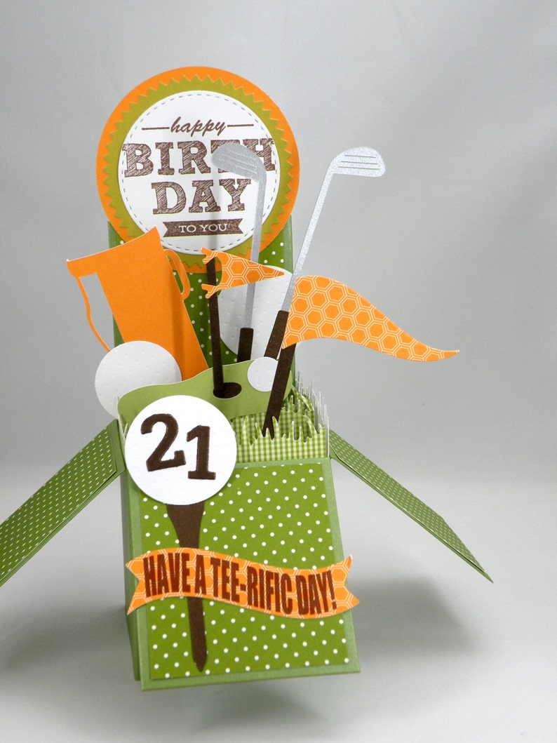 3D Golf Birthday Card Age Box In Orange And Green