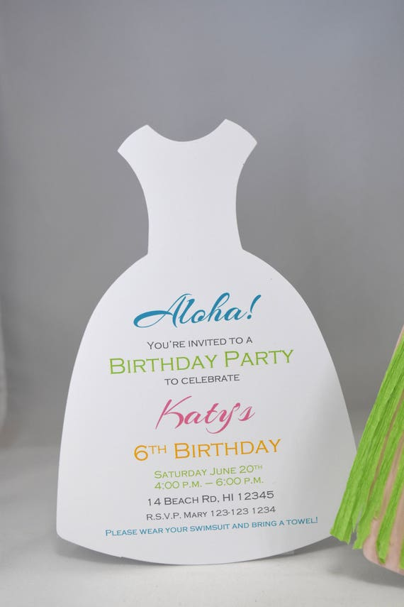 10 Hula Girl Party Invitations with Custom Wording