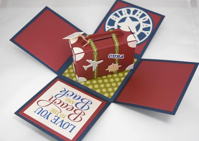 3D Vacation Themed Birthday Card Explosion Box