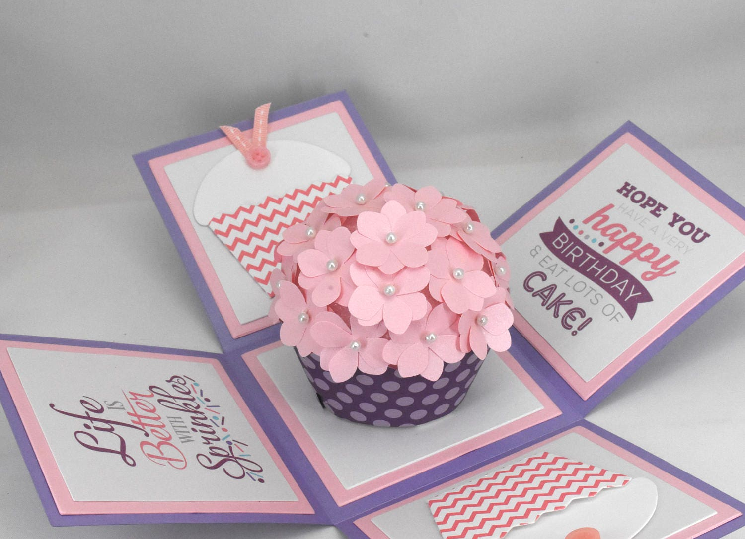 3d Purple And Pink Cupcake Birthday Card Explosion Box Card Etsy