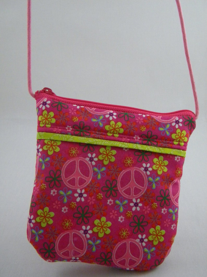 Birthday Gift Pink Strap Tween Pouch Cell Phone Purse Peace Sign Purse Cross body Purse Small Purse