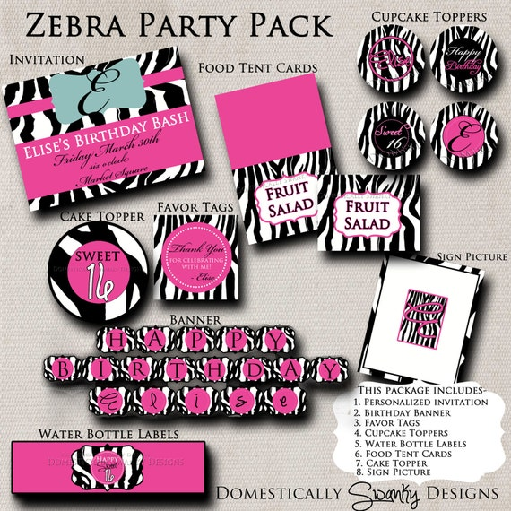 Items Similar To Zebra Print Party Pack