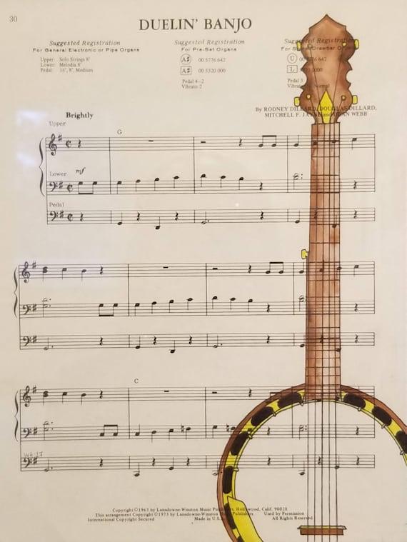 Dueling Banjos Original Drawing on Sheet Music